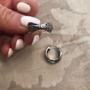 Lia Sophia Sterling Silver Earrings, mini hoops